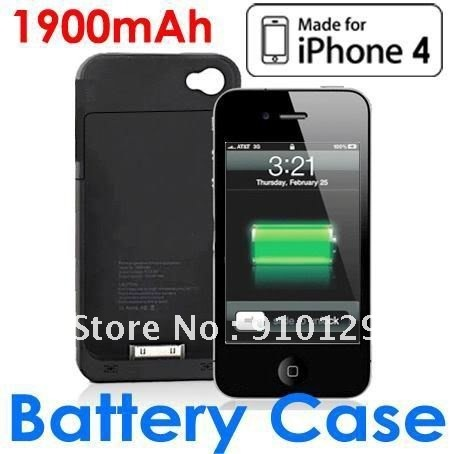 External Rechargeable Backup Battery Charger Case Cover Shell For iPhone 4 4G
