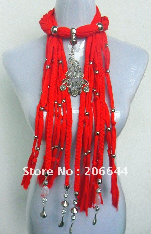 Fashion Jewelry Scarf With Crystal Peacock Pendant fashion jewelry scarves