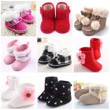Baby Girls Winter Snow Boots Infant Toddler Solid Bowknot Shoes Soft Sole Prewalker 0-18 Months Keep Warmest Footwear Shoes(China (Mainland))