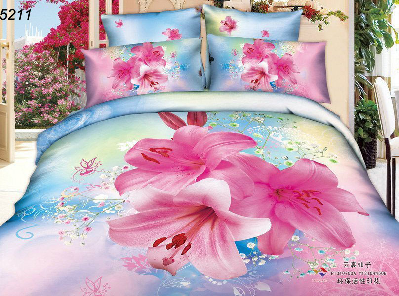 Flowers 3d bedding set pink bed set 3d home textile cotton 3d bed linens reactive print 3d comforter cover bed sheet set 5211(China (Mainland))