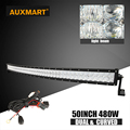 Auxmart 5D 50 480w LED Work light bar curved combo beam led bar for Offroad camper