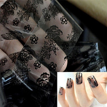1pc 3D Black Lace Nail Art Foil Stickers Flower Nail Decals Tips Manicure Tool(China (Mainland))
