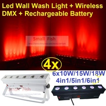 4xLot DHL Free Ship Rechargeable Led Wall Washer Effect Light 6x18W 6in1 RGBWAUV LED Line Bar DJ Lighting Wireless DMX & Battery(China (Mainland))
