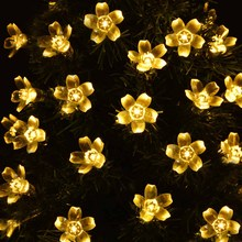 USA In Stock 10pcs/lot Flower Solar String Lights, 21ft 50 LED Fairy Blossom Christmas Lights Decorative Lighting Outdoor Home(China (Mainland))