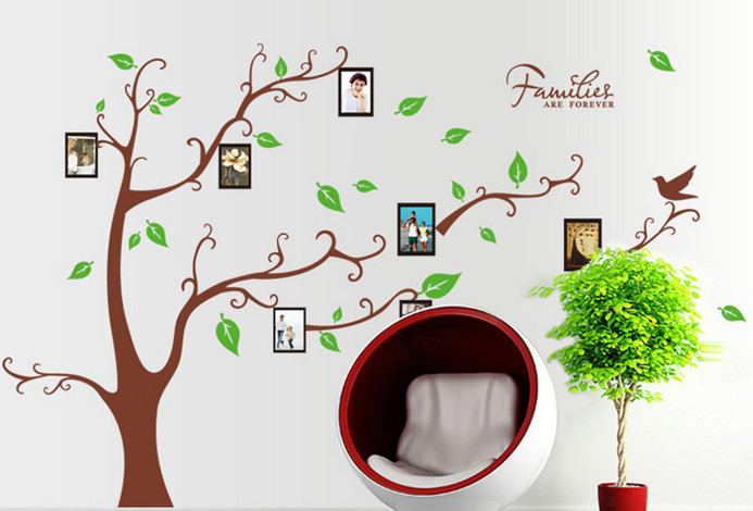 Large brown 3d diy photo tree pvc wall decals adhesive for Diy photographic mural