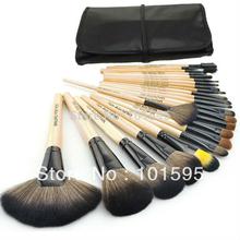 New Professional 24pcs Makeup Brush Set Make-up Toiletry Kit Wool Brand Make Up Brush Set + Leather Case(China (Mainland))