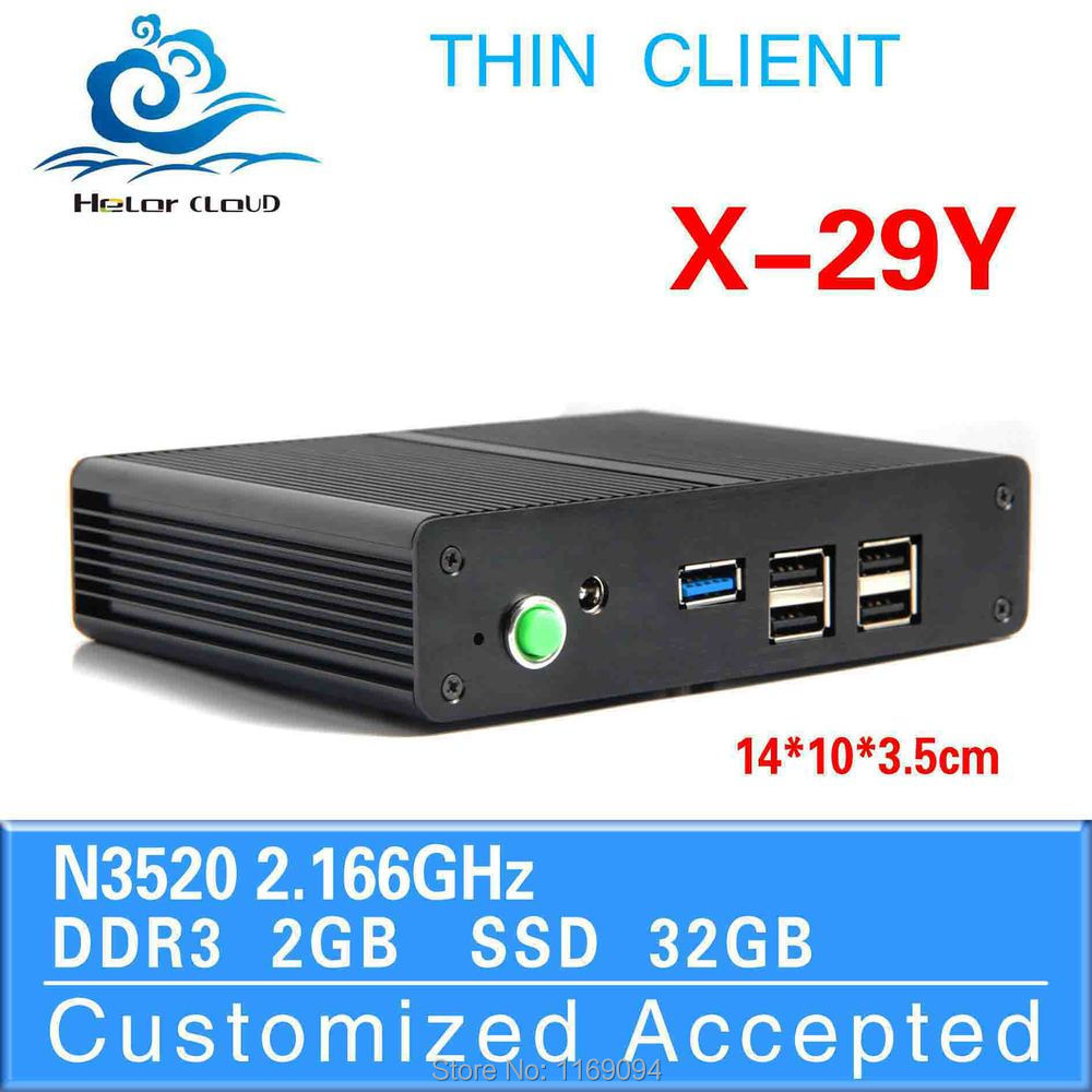 thin client pc share desktop computer industrial embedded pc x-29y pentium n3520 2GB RAM 32GB SSD with 1*RJ 45Lan port(China (Mainland))