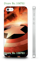 Mobile Phone Case Retail 1pc Captain American Logo Protective White Hard Case Cover For IPHONE4 4S Free Shipping