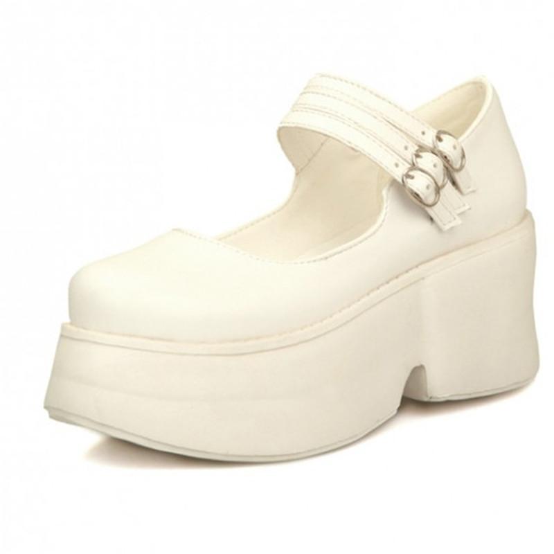ENMAYER Punk rock Wedges shoes 2015new fashion women pumps Buckle Casual platform pumps shoes for women Mary Janes Shoes women<br><br>Aliexpress