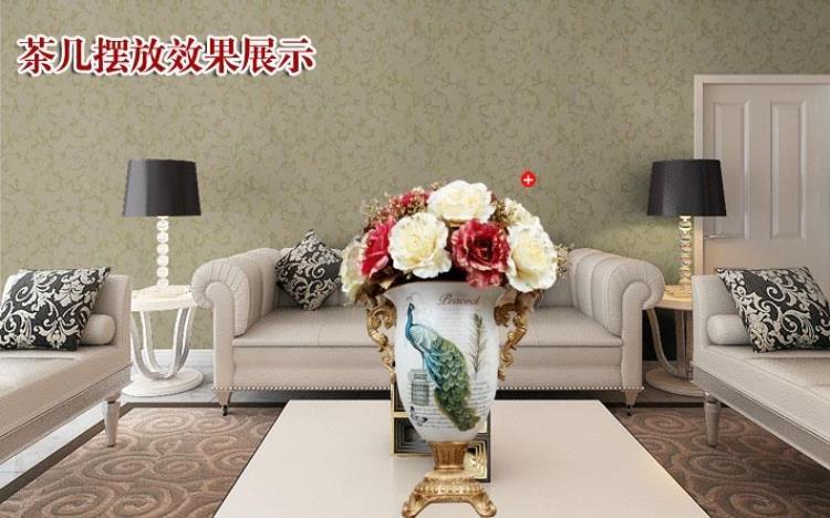 European peacock vase gold floral ornaments binaural living room TV cabinet decoration gift crafts Fashion dining table vase