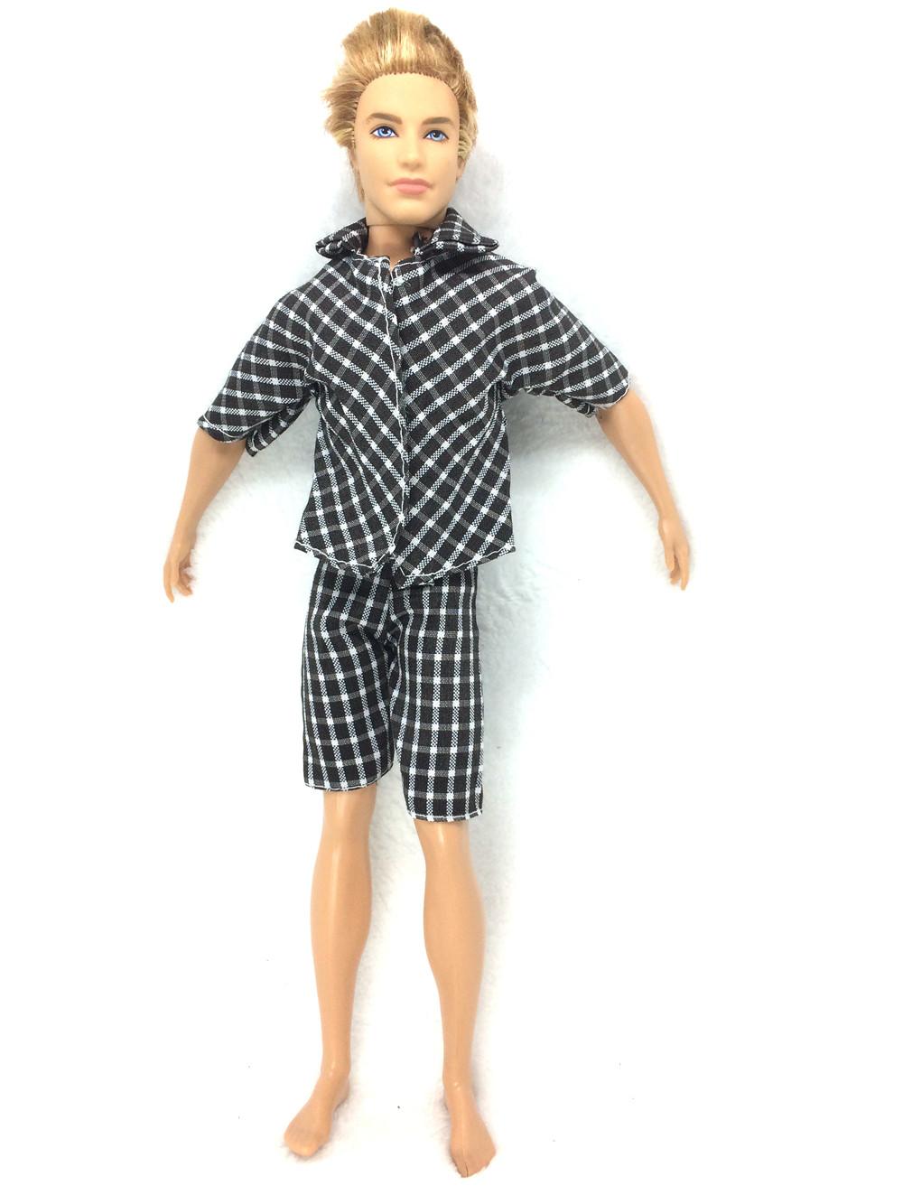 NK One Set Prince  Ken Doll's Garments Informal Put on Plaid Doll Garments Jacket Pants Trousers For Barbie Ken Doll