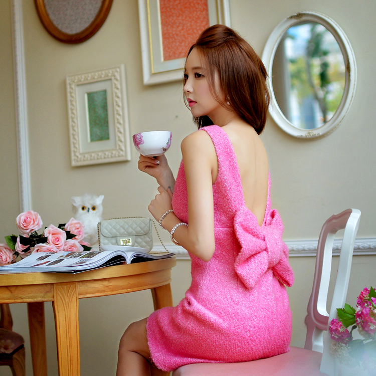 dabuwawa 2016 new bow Womens winter fashion a sweet sexy backless dress