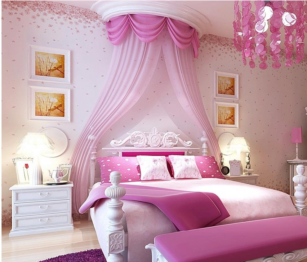 Modern style small floral wallpaper romantic pink cherry for Bedroom designs hd wallpapers