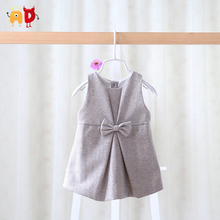 AD 4-24M Fashion Bow Baby Girls Dress Spring Autumn Winter Baby's Dress Kids Children Clothing Clothes Woolen Famous Design(China (Mainland))