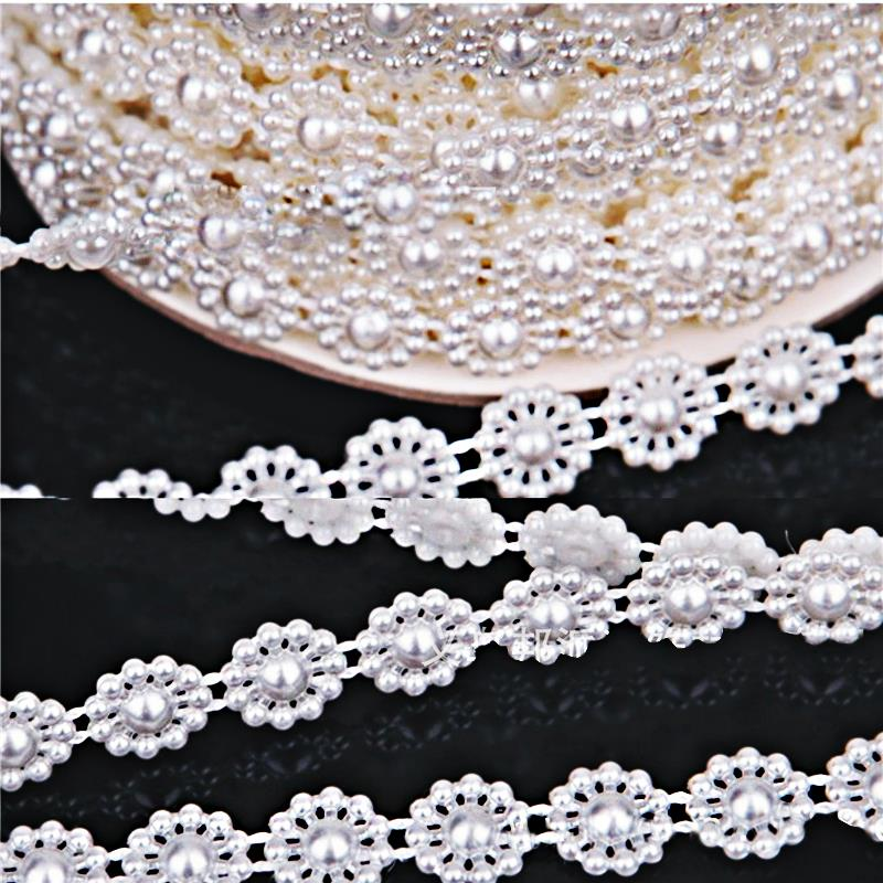Beautiful flower pearl trim Ivory white Connection pearls garment accessories wedding party decoration(China (Mainland))