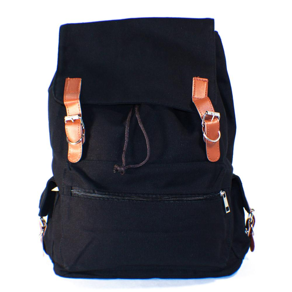 Black Canvas Backpack School Bag Super Cute for School Fast Shipping(China (Mainland))