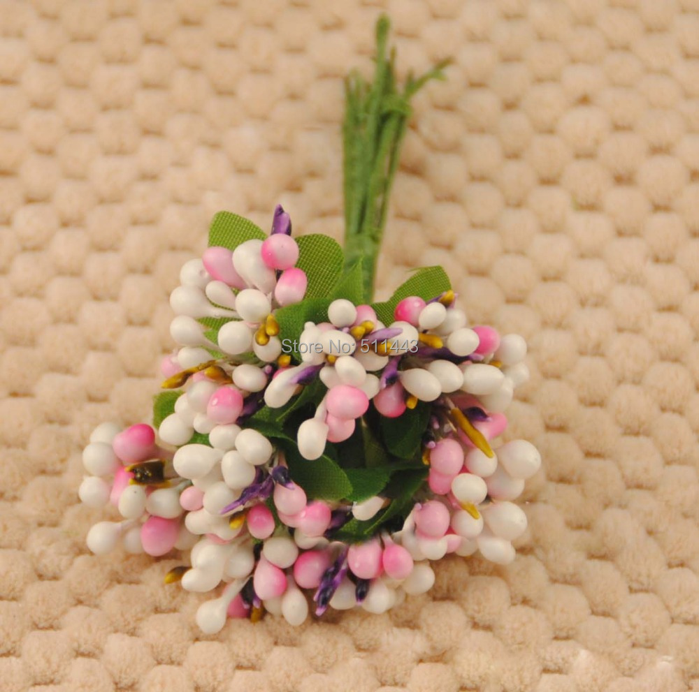 Free shipping 100pcs Colorful Artificial Pip Berry Wire Stems Fruit Flower Stamen Garland Gift Box Wedding Christmas Decoration(China (Mainland))