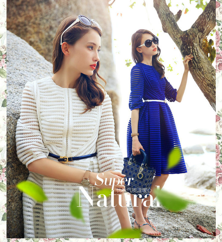 2015 summer autumn dresses half sleeve hollow striped slim women's clothes ,OL dress ladies gentlewoman - Online Store 317486 store