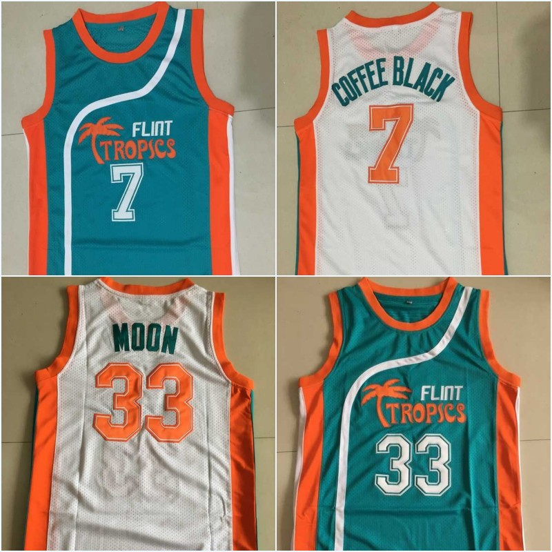 Stitched 7 Coffee Black Flint Tropics Jersey, 33 Jackie Moon Jersey,Coffee Black Basketball Jersey Teal/White Any Size S to 3XL(China (Mainland))