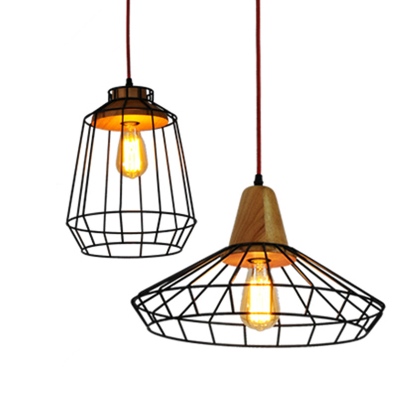 vintage lamp lustre pendant lights industrial cage