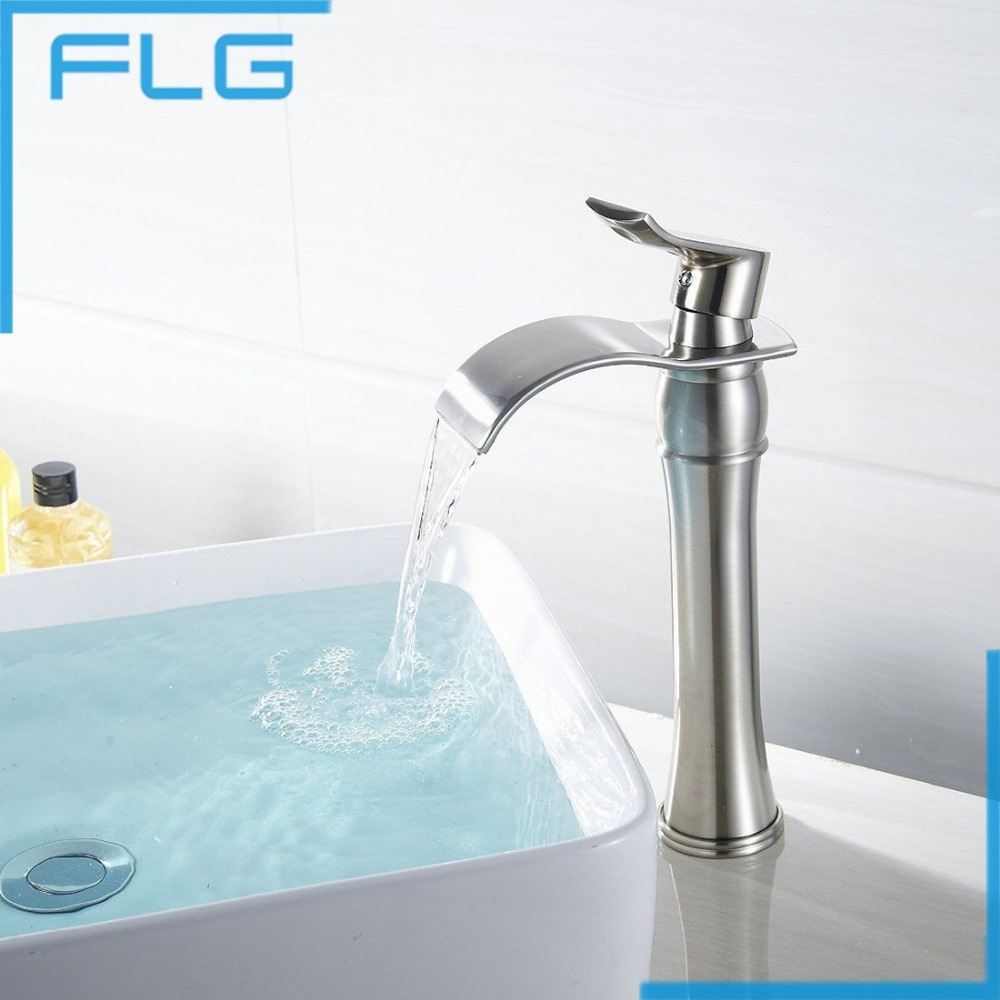 High Brushed crane tall waterfall faucet bathroom Nickel Brushed mixer faucet copper waterfall high basin mixer tap(China (Mainland))