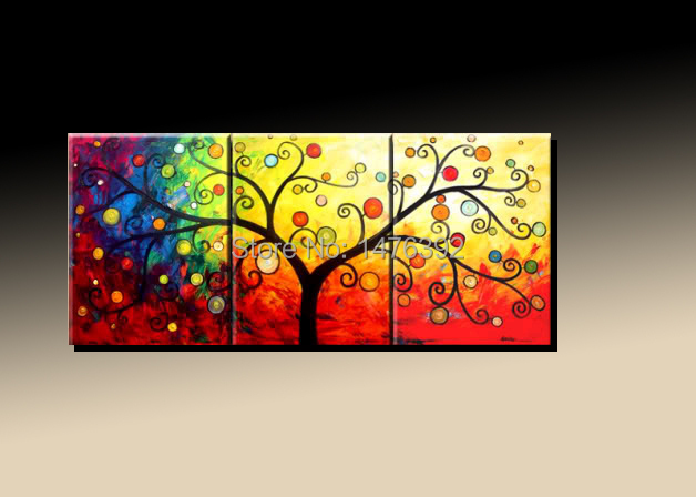 Money Lucky Tree Abstract Oil Painting No Framed Unique Handicraft Modern Fashion Design Wall Art Deco  3 Pieces QROP020(China (Mainland))