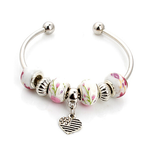1Pc handmade porcelain murano glass 925 silver jewelry beaded Heart-shaped pattern european charm bracelet s-593(China (Mainland))