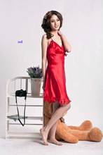 Summer underwear V-neck ruffle sexy sleepwear pure silk spaghetti strap nightgown female 100 mulberry silk at home service