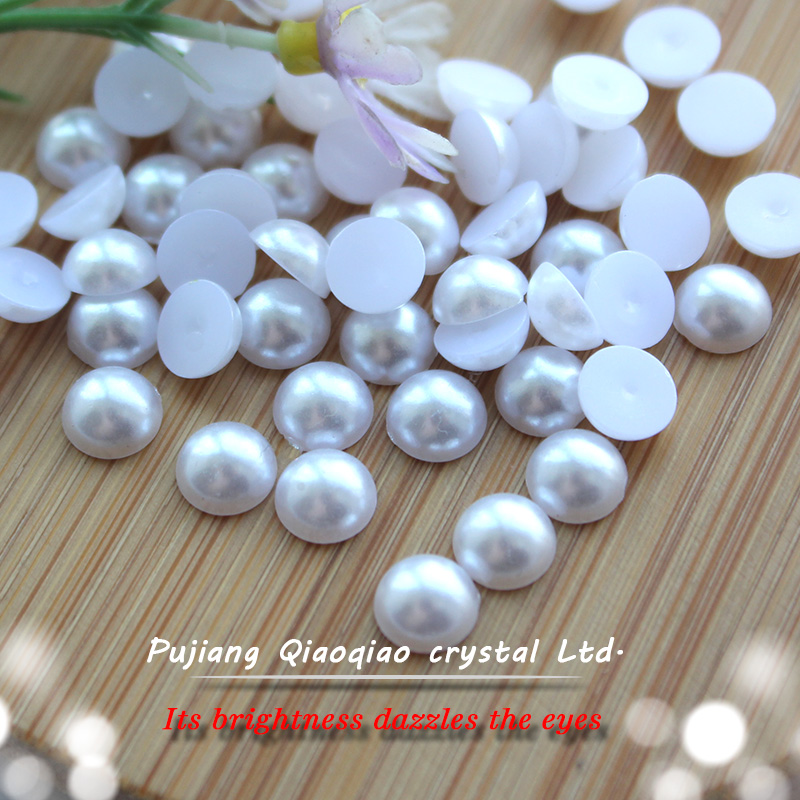 Selling 2mm-12mm ABS imitation flatback white nail art diy beauty pearl half round for DIY decoration(China (Mainland))
