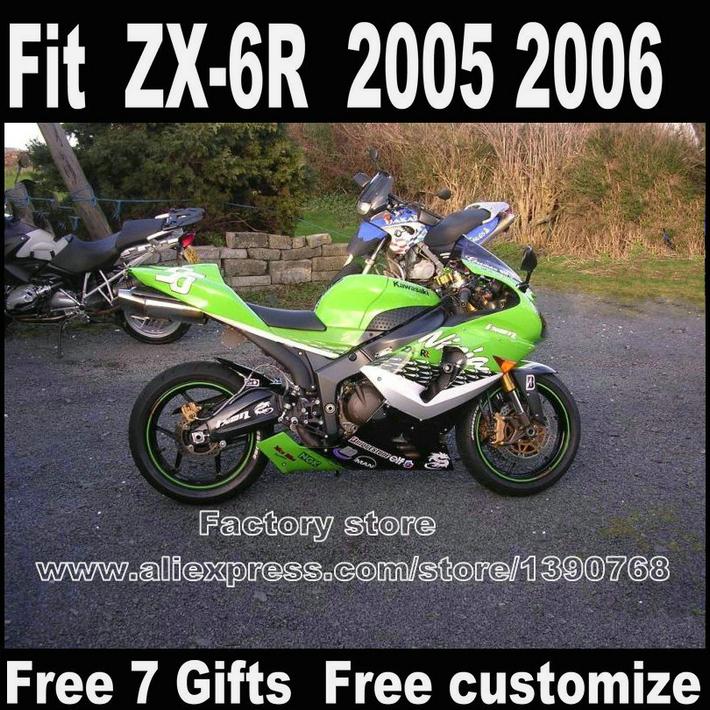 Customize Motorcycle fairing kit for Kawasaki ZX-6R fairings 2005 2006 green black bodowork set ZX6R 05 06 Ninja 636 LK33<br><br>Aliexpress