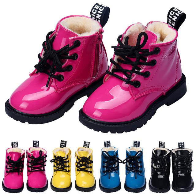 2016 Новый теплая зима Мода ИСКУССТВЕННАЯ Кожа Малышей Девочки Мальчики обувь Новые Случайные Плоские Ботинки Детей Детская Обувь малыша кроссовки обувь