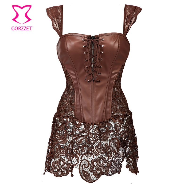 Skirted Lace Brown Leather Steampunk Corset Dress Punk Gothic font b Clothing b font Waist Training