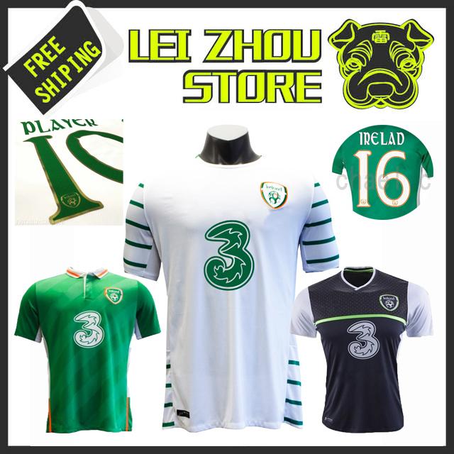 anna-Thai quality 2016 Republic of Ireland soccer jersey new 2017 Ireland WALCERS LONG White Black Green football shirt custom(China (Mainland))