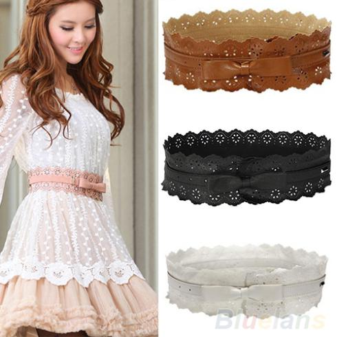 Гаджет  Womens Vintage PU Leather Hollow Flowers Lace Bowknot Wide Waist Waistband Belts 08BY None Одежда и аксессуары