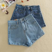 2016 women's kawaii fashion vintage all-match roll-up hem high waist denim shorts female loose plus size jeans short for women