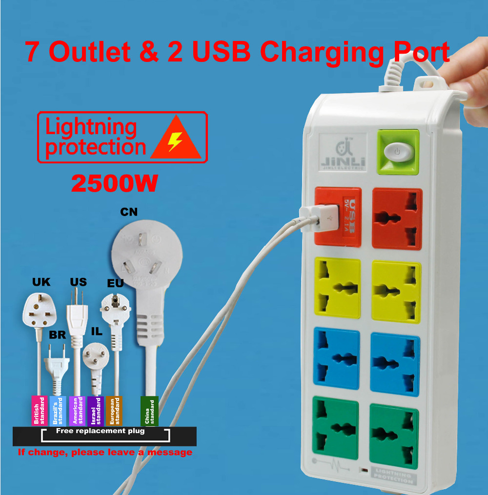 7 Outlet socket Universal Power Strip Socket and 2 USB Charger Ports with EU UK US type(China (Mainland))