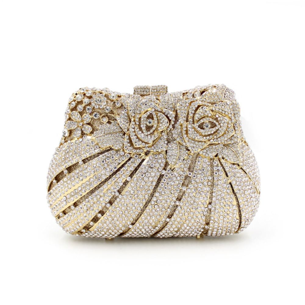 March 2016 New Women Rose Flower Crystal Clutch Handbag for Wedding Party Lady Evening Bag Gold mixed Shining Diamonds LX013