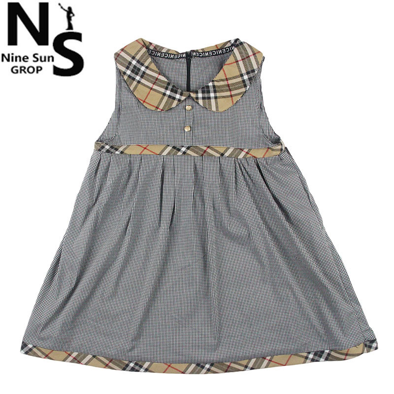 TOP NS Girl Dresses Summer 2016 Baby Girl Dress Plaid Baby Girl Clothes Kids Dresses For Girls Peter Pan Collar 6 7 8 9 10 Years(China (Mainland))