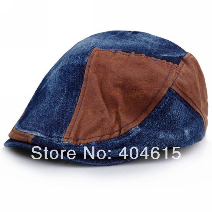 Wholesale adult winter patchwork visor hat women and men fashion denim beret caps(China (Mainland))
