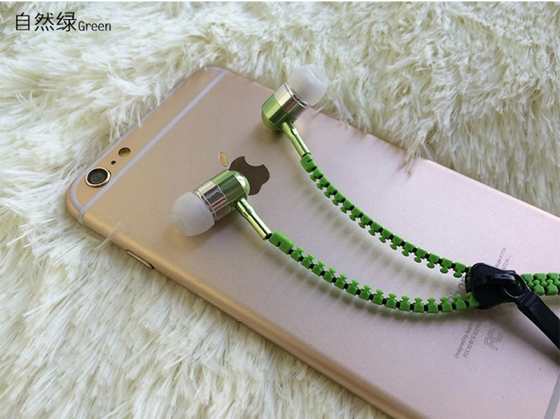 2015 New Metal Zipper Earphones 3.5mm in-ear earphone with mic for IPHONE 4s 5 5s for ipad 2 3 4 mini mp3 mp4 For samsung S5 S6