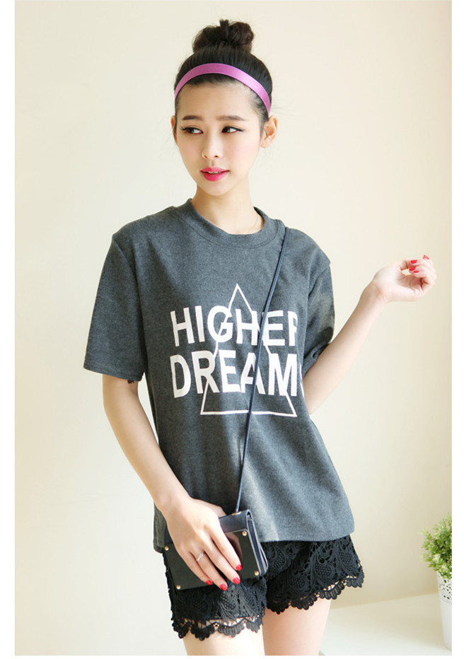 Make South Korea act as purchasing agency personality after short before long letters short sleeve T-shirt(China (Mainland))
