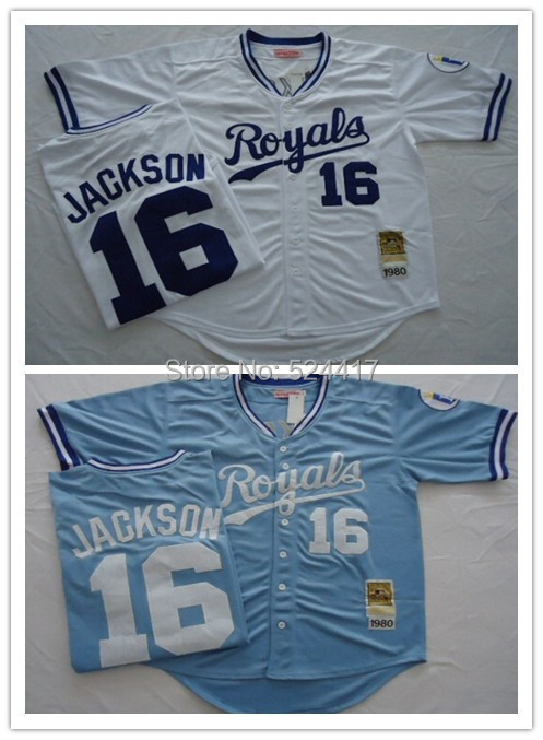 #16 Bo Jackson Jersey Kansas City Royals Jersey 1980 throwback Jersey Lt Blue,White Size M-XXXL Free Shipping Mix Order(China (Mainland))