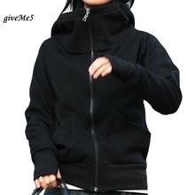 Korea Long Sleeve Short Cotton Blends Women's Hoodie Coat Outerwear Wholesale Black, Gray, Dark Blue, Green 50(China (Mainland))