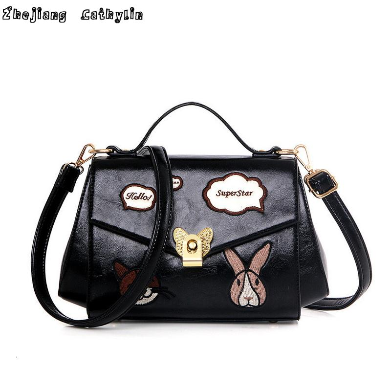 new 2016 single women bag leisure fashion embroidery cat rabbit bubble PU hand inclined women messenger bags hook(China (Mainland))