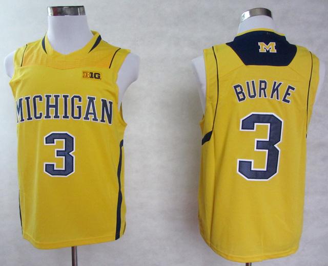 New Michigan Wolverines #3 Trey Burke Jersey Yellow Blue White BIG10 Patch Stitched NWT College Basketball Jerseys Polyester S--(China (Mainland))