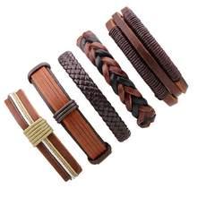 3-6 sztuk ręcznie wrap brązowy prawdziwy urok mężczyźni skórzana bransoletka dla kobiet 2017 moda bransoletka regulowana femme pulseira masculina(China)