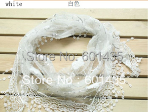 Free Shipping! Wholesale Price! White Triangle Lace Fashion Cotton Scarves with Rose Flowers,8 Mix-colors,150* 40cm