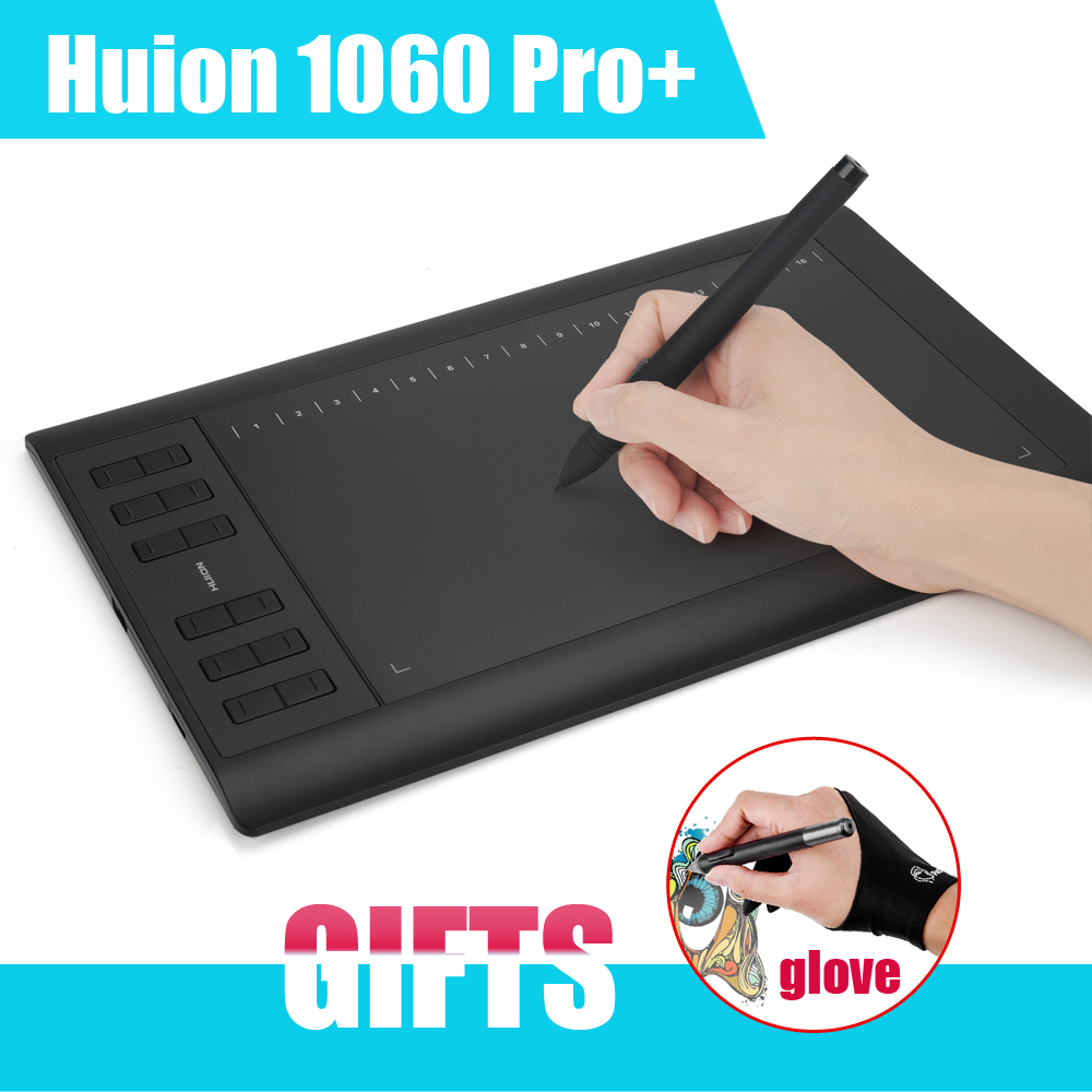 Original HUION 1060 Pro+Digital Graphic Tablets Drawing Tablet Board Pad Panel With Pen USB + Anti-fouling Glove as Gift(China (Mainland))