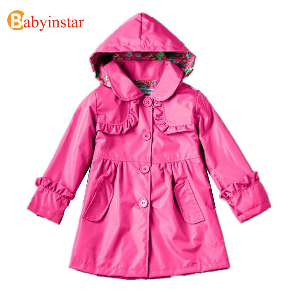 2016 Baby Girls Raincoat Lovely Candy Color Hooded Kids Coat Waterproof Long Sleeve Hooded Rainsuit(China (Mainland))