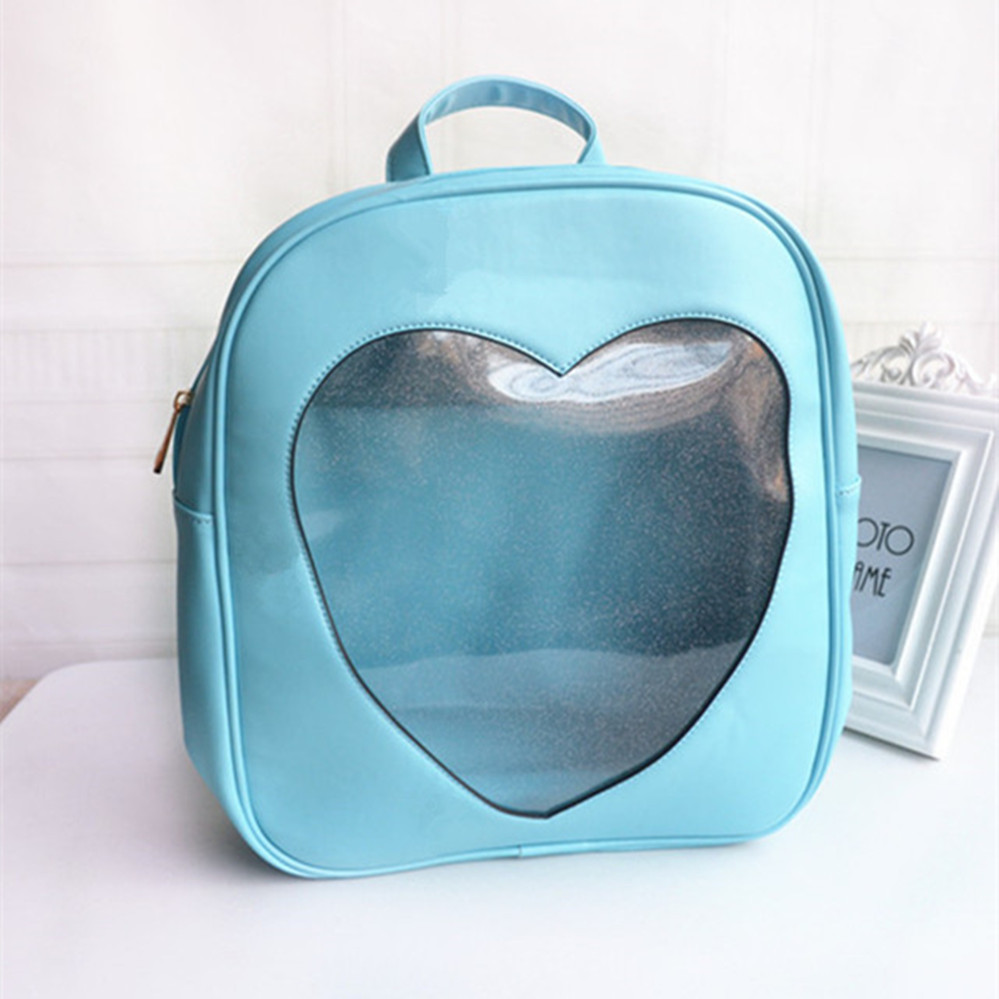 HOT Japan Wego Harajuku Girls Kawaii Bling Transparent Love Teenager Girl School Bag Backpack Leather PU Backpack<br><br>Aliexpress